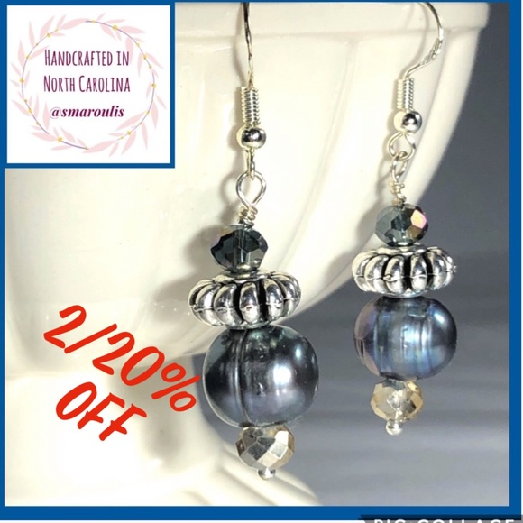 Frontrow.Style Jewelry - 💋Sterling Silver Earrings Eve Baroque Grey Pearl
